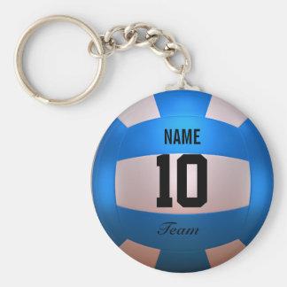 Blauw Volleyball Basic Ronde Button Sleutelhanger