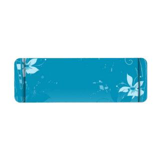 Blauwe bloemenetiketten etiket
