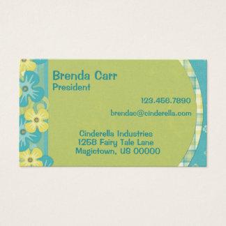 Blauwe en gele bloemvisitekaartjes visitekaartjes