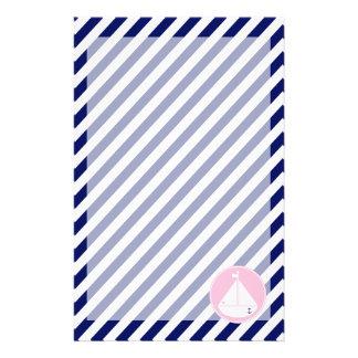 Blauwe en Roze Zeilboot Briefpapier