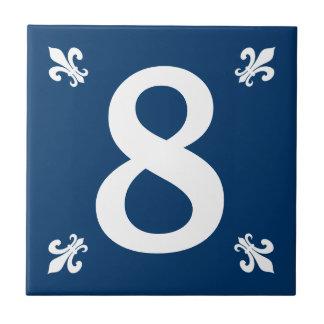 Blauwe en witte fleur DE lis huisnummertegel Tegeltje