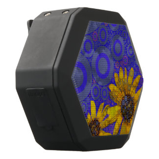 Blauwe Gele Abstracte Bloemen Zwarte Bluetooth Speaker