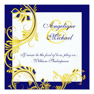 Blauwe gele witte elegante huwelijksverjaardag 13,3x13,3 vierkante uitnodiging kaart