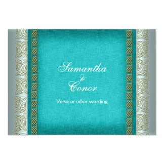 Blauwe gouden witte huwelijksverjaardag 12,7x17,8 uitnodiging kaart