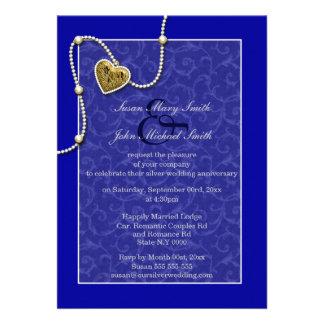 Blauwe het huwelijksverjaardag van de kantparel custom uitnodging