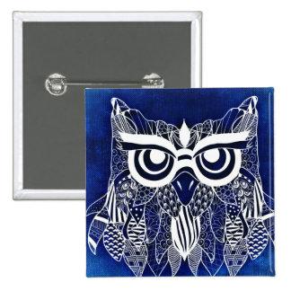 Blauwe Moderne Uil Vierkante Button 5,1 Cm