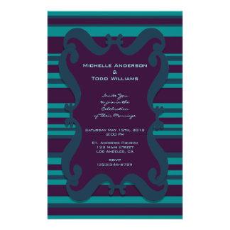 Blauwgroen en Donkerblauw Gestreept Huwelijk Persoonlijke Folder