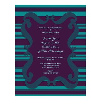 Blauwgroen en Donkerblauw Gestreept Huwelijk Gepersonaliseerde Folder