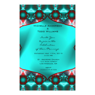 Blauwgroen Rood Abstract Huwelijk Flyer 14 X 21,6 Cm