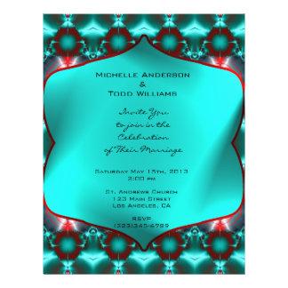 Blauwgroen Rood Abstract Huwelijk Fullcolor Folder