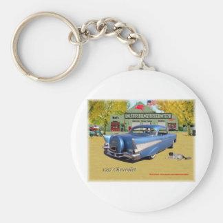 Bleu 1957 classique de Chevrolet de voitures de Porte-clé Rond
