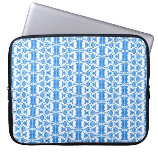 Bleu abstrait des diviseurs 02 de motif au-dessus housse pour ordinateur portable