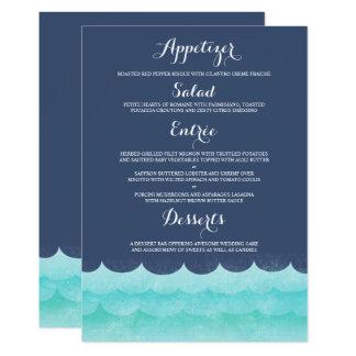 Bleu au menu nautique de mariage de mer carton d'invitation  12,7 cm x 17,78 cm