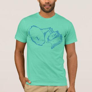 Bleu classique de cavité de T-shirt de phonographe