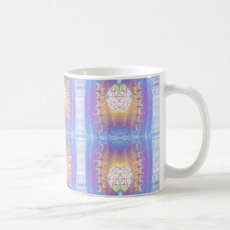 Bleu complexe fleuri CricketDiane d'art moderne Mug Blanc