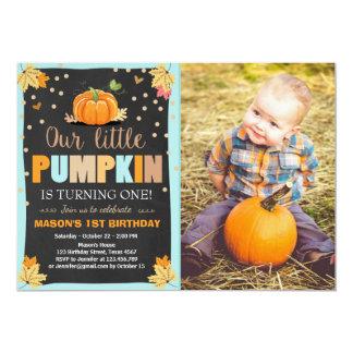 Bleu d'automne d'anniversaire de garçon carton d'invitation  12,7 cm x 17,78 cm