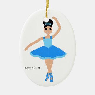 Bleu de ballerine de Cuties de cacao Ornement Ovale En Céramique