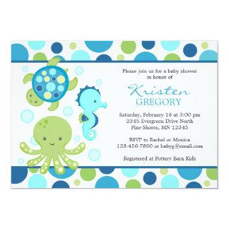 Bleu de │ d'invitations de baby shower de mer de carton d'invitation  12,7 cm x 17,78 cm