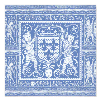 Bleu de la Renaissance médiévale et blanc élégants Carton D'invitation 13,33 Cm
