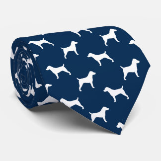 Bleu de motif de silhouettes de Jack Russell Cravate