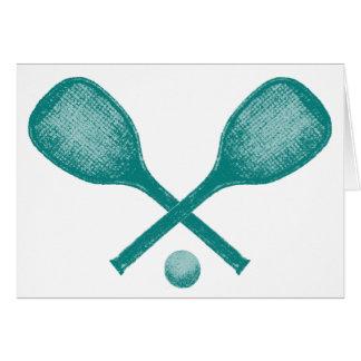 bleu de paon de raquettes de tennis carte de vœux
