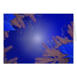 Bleu de poinsettia de Noël Carte De Vœux