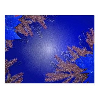 Bleu de poinsettia de Noël Cartes Postales