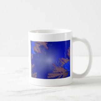 Bleu de poinsettia de Noël Mug Blanc