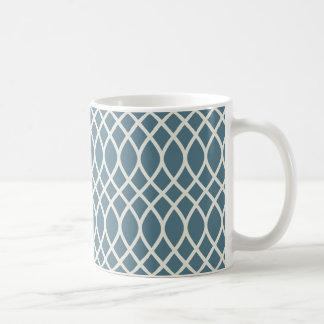 Bleu d'océan profond blanc de sable géométrique mug