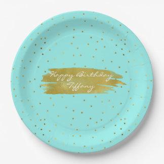 Bleu d'oeufs de merles avec les plaques à papier assiettes en papier