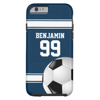 Bleu et blanc barre le ballon de football du coque iPhone 6 tough
