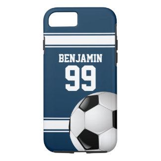 Bleu et blanc barre le ballon de football du coque iPhone 7