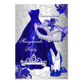 Bleu et invitation de Quinceanera de mascarade de