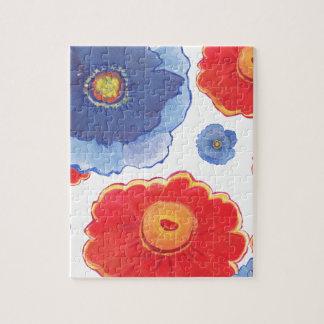Bleu et papier peint de Red_Floral Puzzle