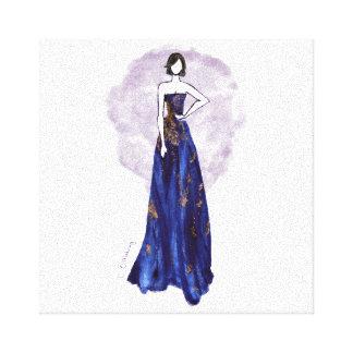 Bleu et toile enveloppée par or toiles