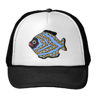 Bleu Fish-02 et or tropicaux Casquettes De Camionneur