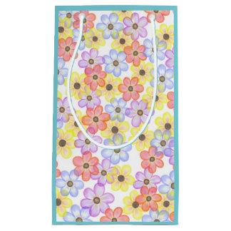 Bleu floral de sac de cadeau