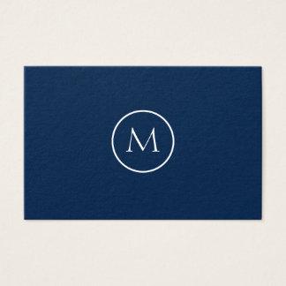 Bleu-foncé élégant décoré d'un monogramme cartes de visite