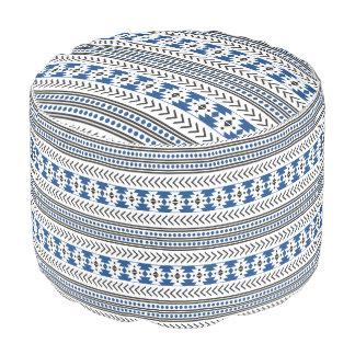 Bleu géométrique de motif d'impression tribal pouf