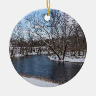 Bleu James River d'hiver Ornement Rond En Céramique