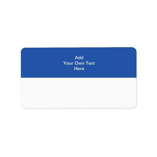 Bleu marine avec le secteur et le texte blancs étiquette d'adresse