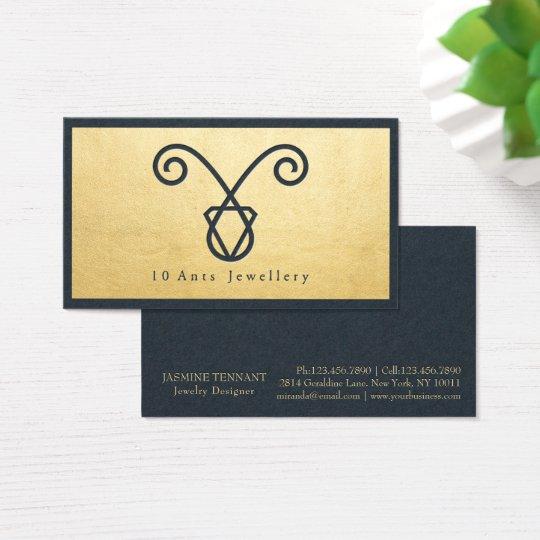Bleu marine de bijoux faits main et feuille d'or cartes de visite