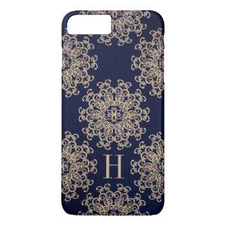 Bleu marine de monogramme et médaillon exotique coque iPhone 7 plus