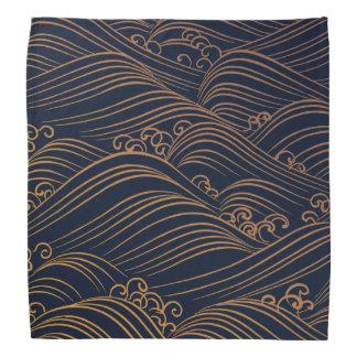 Bleu marine de motif de vagues et or japonais bandanas
