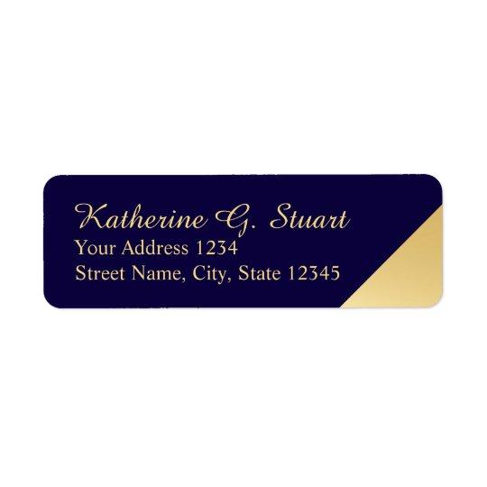 Bleu marine et élégant moderne d'or étiquette d'adresse retour