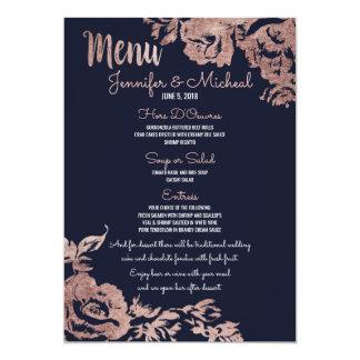 Bleu marine et menu floral de mariage d'or rose carton d'invitation  12,7 cm x 17,78 cm