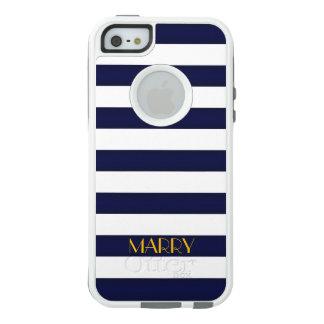Bleu marine et monogramme de rayures de classique coque OtterBox iPhone 5, 5s et SE