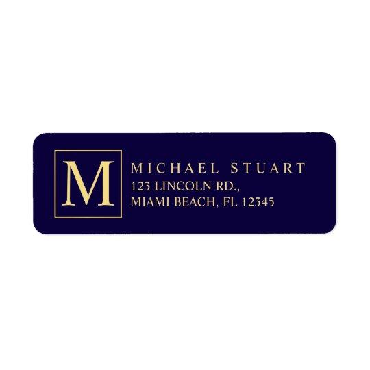Bleu marine et monogramme élégant d'or étiquette d'adresse retour
