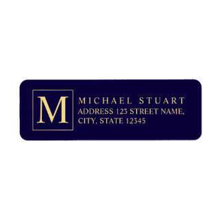 Bleu marine et monogramme élégant d'or étiquettes d'adresse retour
