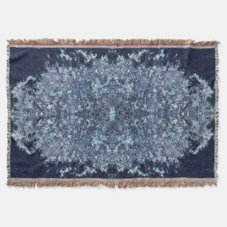 Bleu marine et motif de mousse d'aigue-marine couvre pied de lit